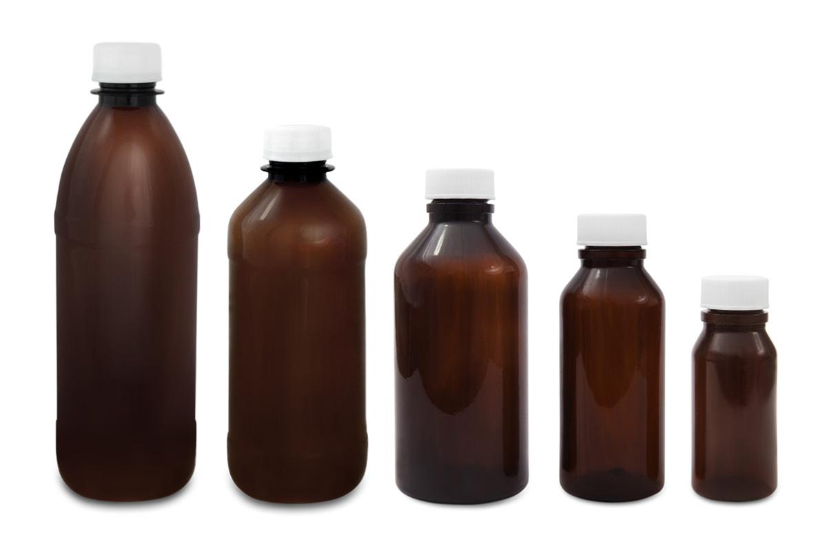 Amber, Round Plastic Bottles (PET)