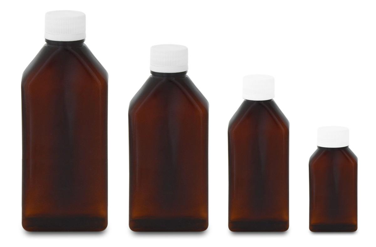 Amber, Rectangular Plastic Bottles (PET)