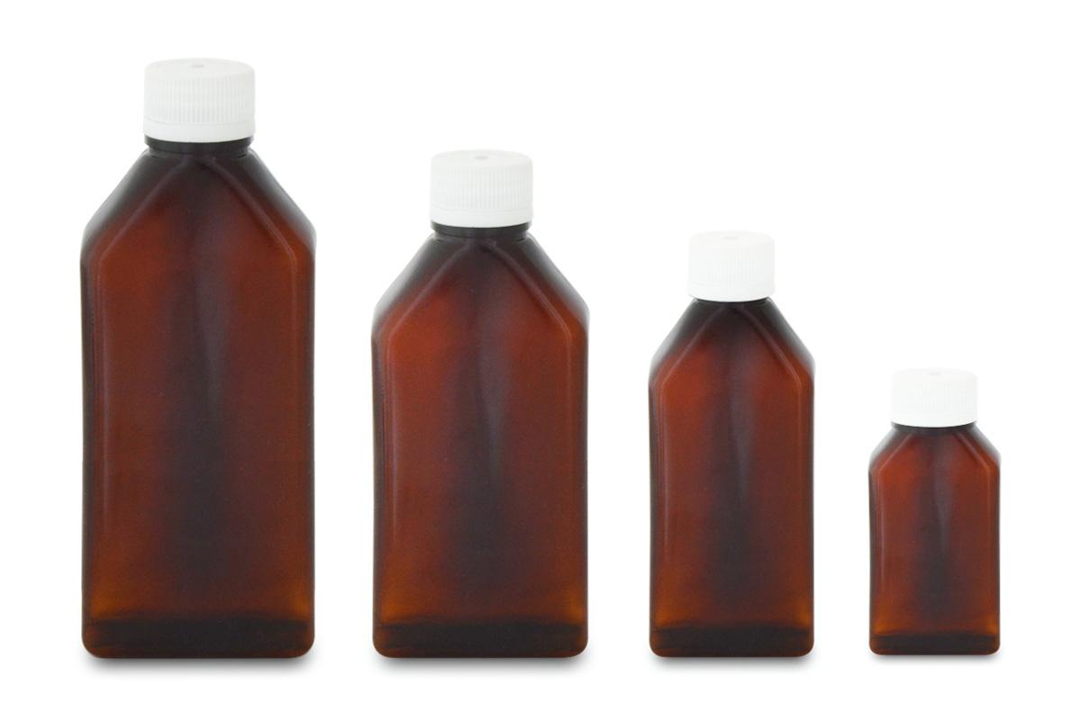 Amber, Rectangular Plastic Bottles (PVC)