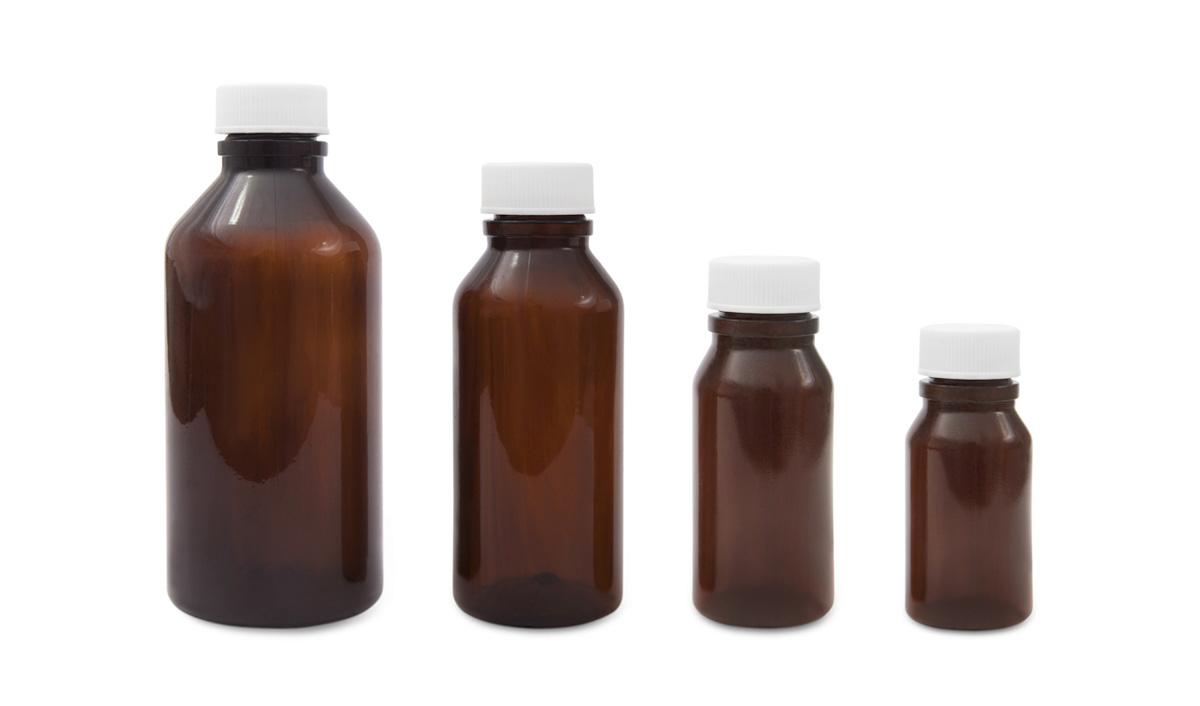 Amber, Round Plastic Bottles (PVC)