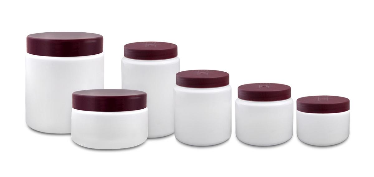 White, Plastic Ointment Jars